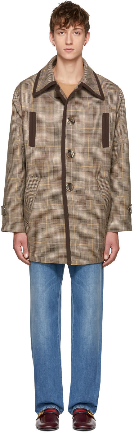 Image of Cmmn Swdn Beige Check Mac Coat