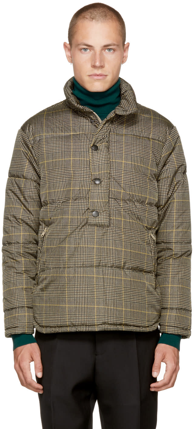 Image of Cmmn Swdn Beige Check Kai Puffer Jacket