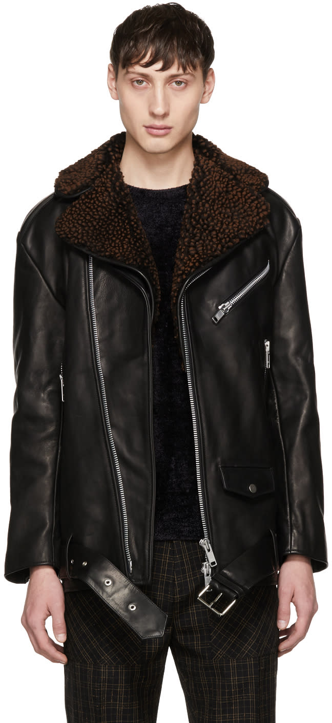 Image of Cmmn Swdn Black Oversized Leather Alec Jacket