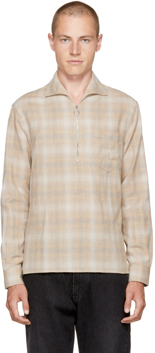 Image of Cmmn Swdn Beige Lead Faded Check Shirt