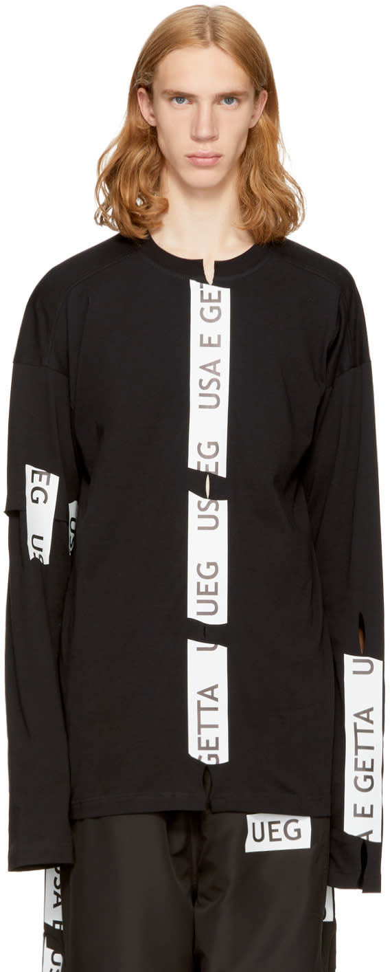 Image of Ueg Black Taped Slits Sweatshirt