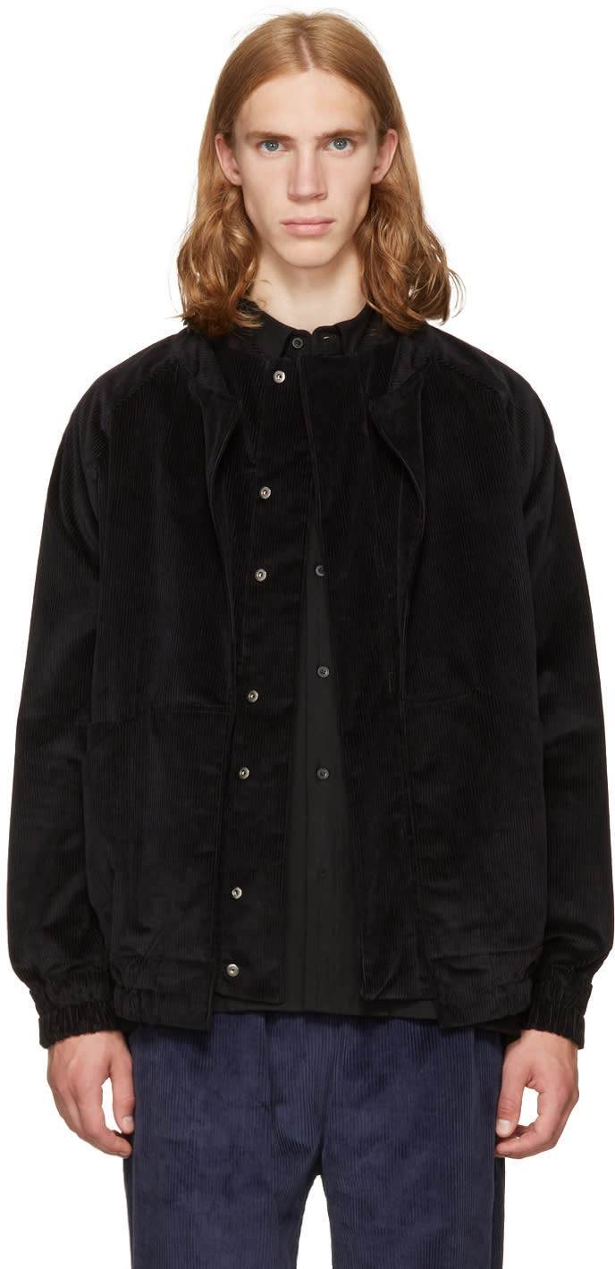 Image of Phoebe English Black Corduroy Double Collar Bomber Jacket