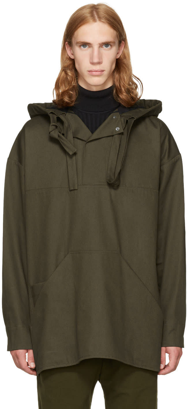 Image of Phoebe English Green Double Tie Hooded Jacket