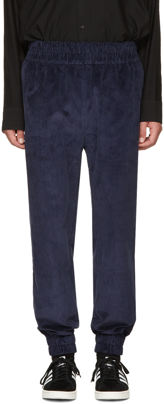 Image of Phoebe English Navy Corduroy Jogger Lounge Pants
