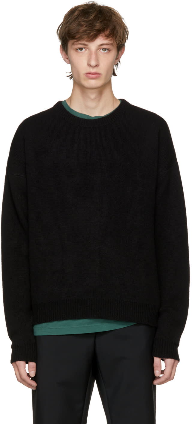 Image of John Elliott Black Cropped Cashmere Sweater