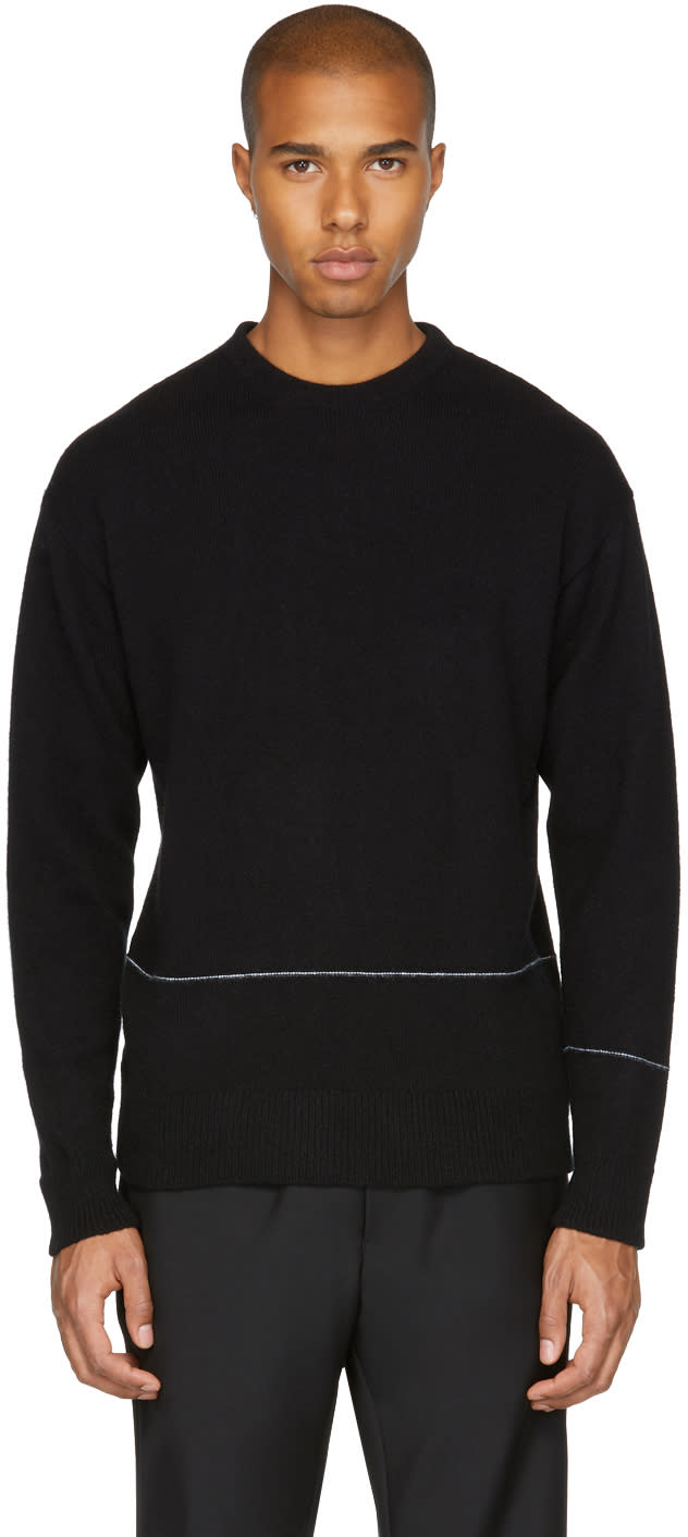 Image of John Elliott Black Baseline Crewneck Sweater