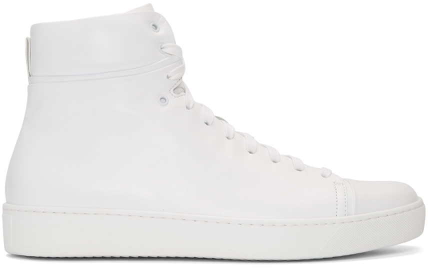 John Elliott White Leather High-top Sneakers