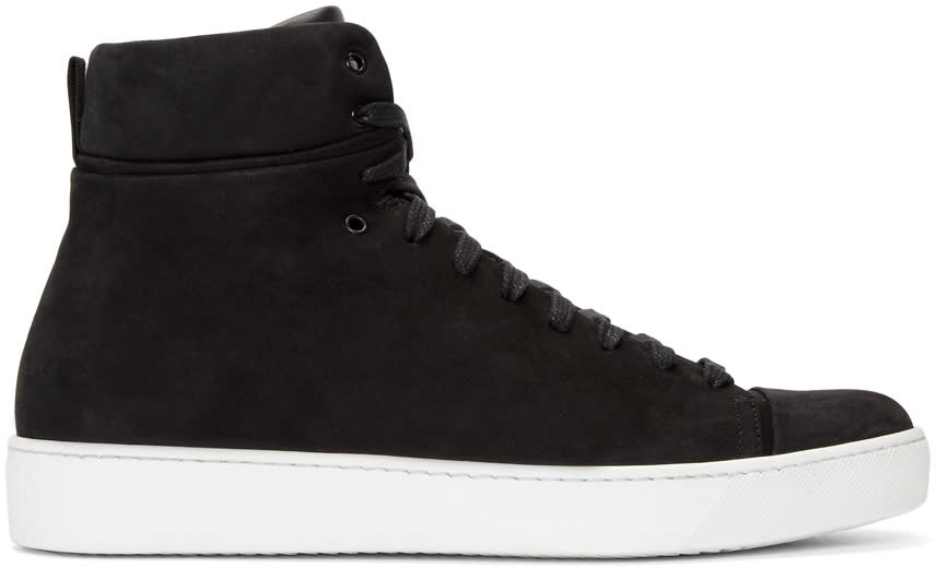 Image of John Elliott Black Nubuck High-top Sneakers