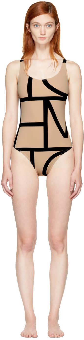 Image of Totême Beige Positano Swimsuit