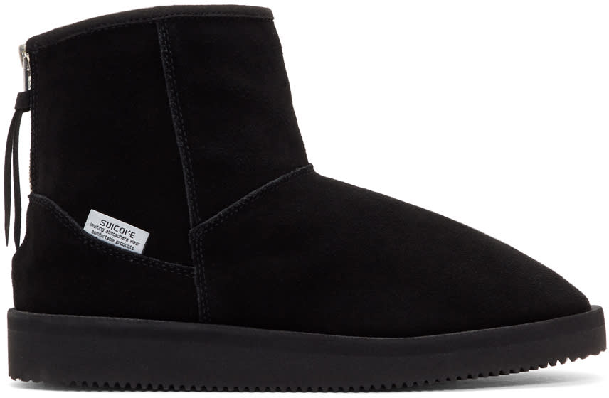 Suicoke Black Suede Shearling Boots