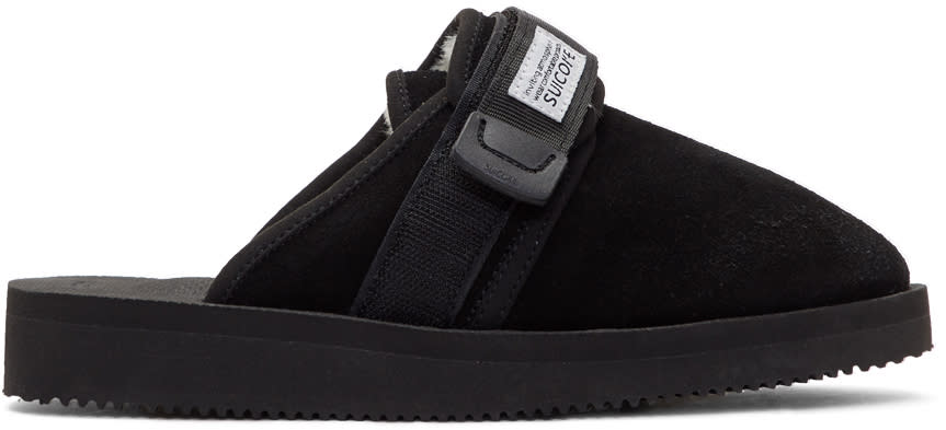Image of Suicoke Black Suede and Shearling Zavo-m Slippers