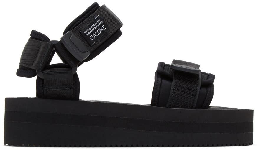 Image of Suicoke Black Cel Flatform Sandals