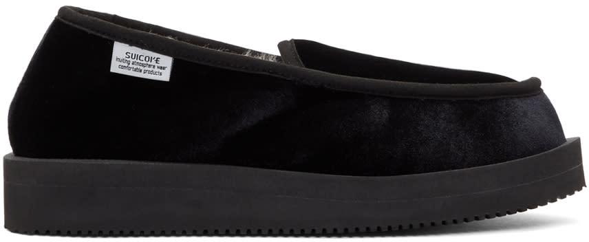 Suicoke Black Velvet Loafers