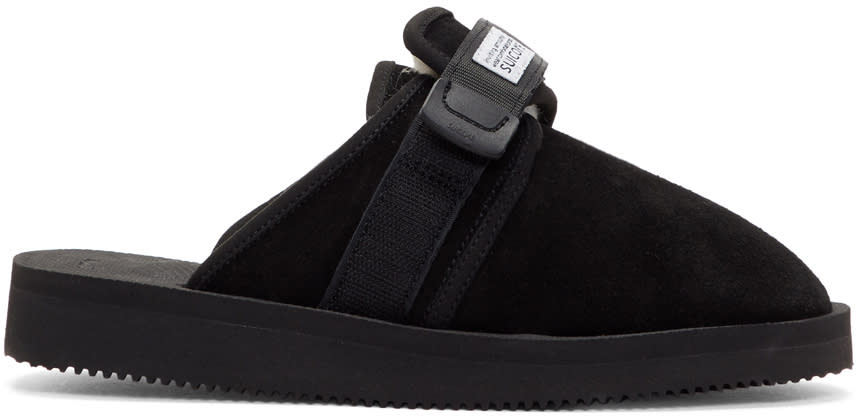 Suicoke Black Suede and Shearling Zavo-m Slippers