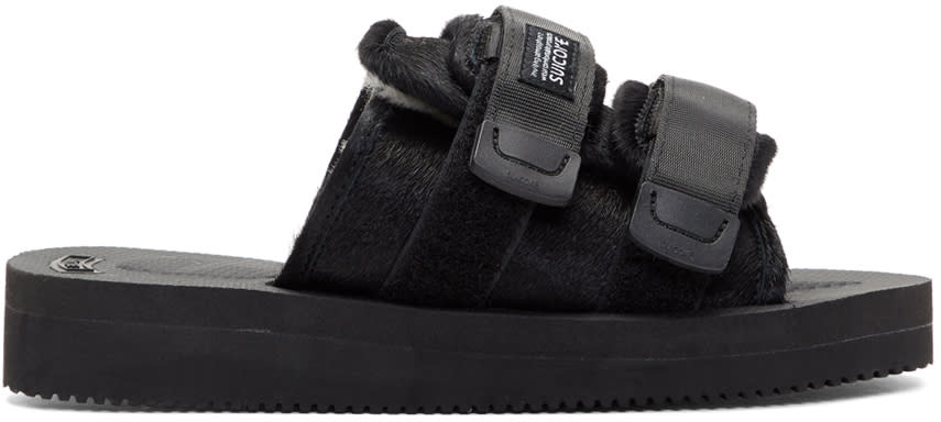 Image of Suicoke Black Calf Hair Moto-vhl Sandals