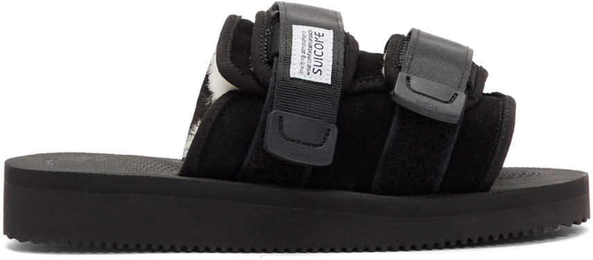 Image of Suicoke Black Suede and Shearling Moto-m Sandals