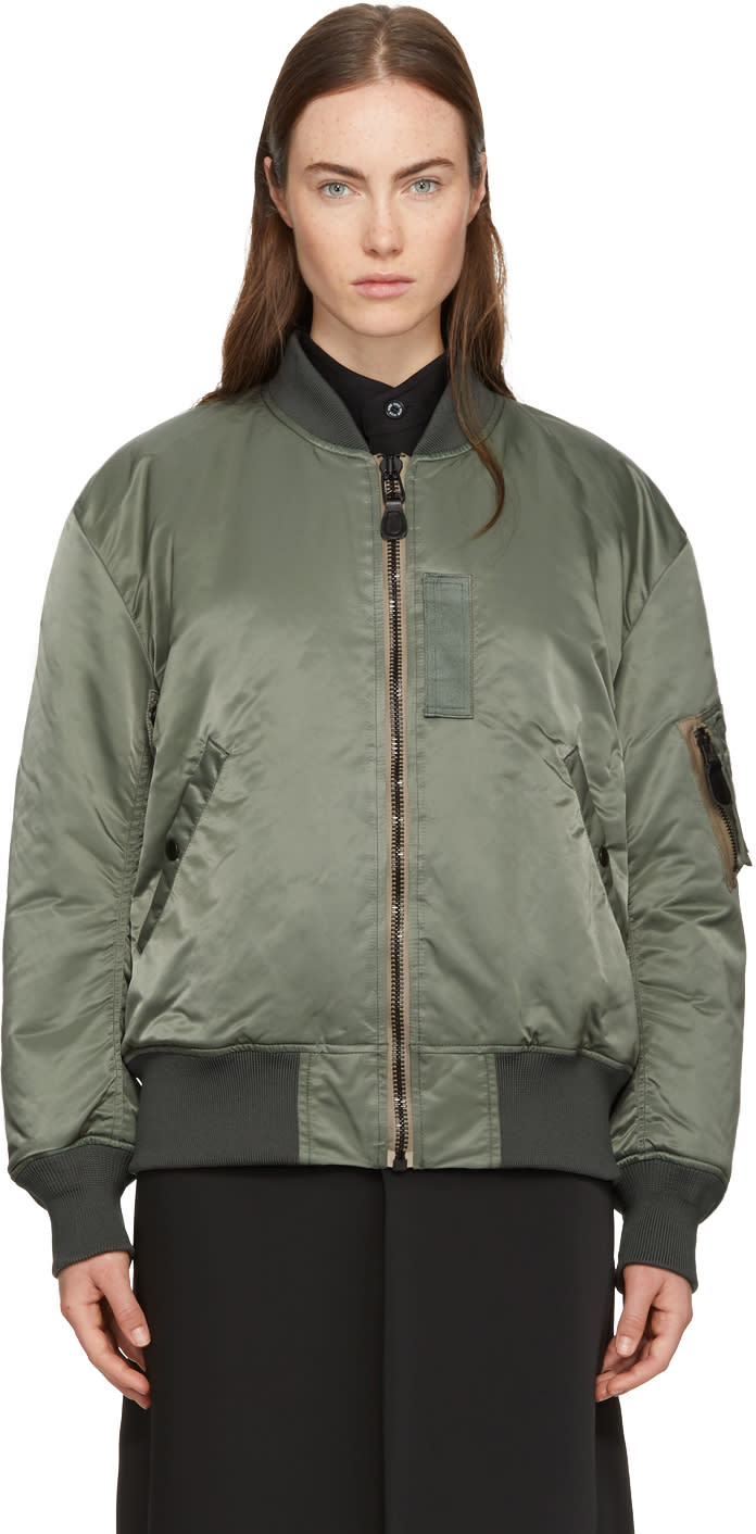 Image of Hyke Green Ma-1 Big Bomber Jacket
