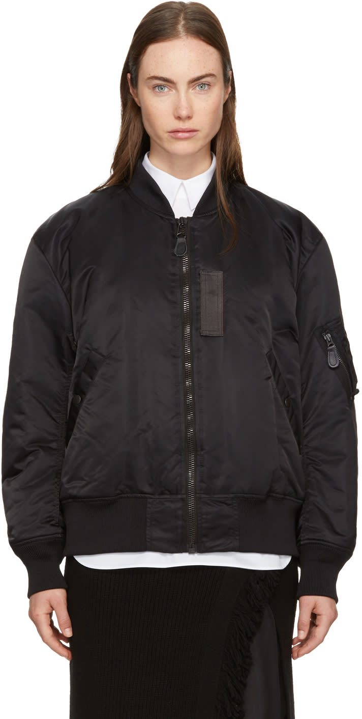 Image of Hyke Black Ma-1 Big Bomber Jacket