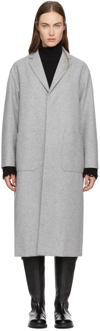 Image of Hyke Grey Wool Shop Coat