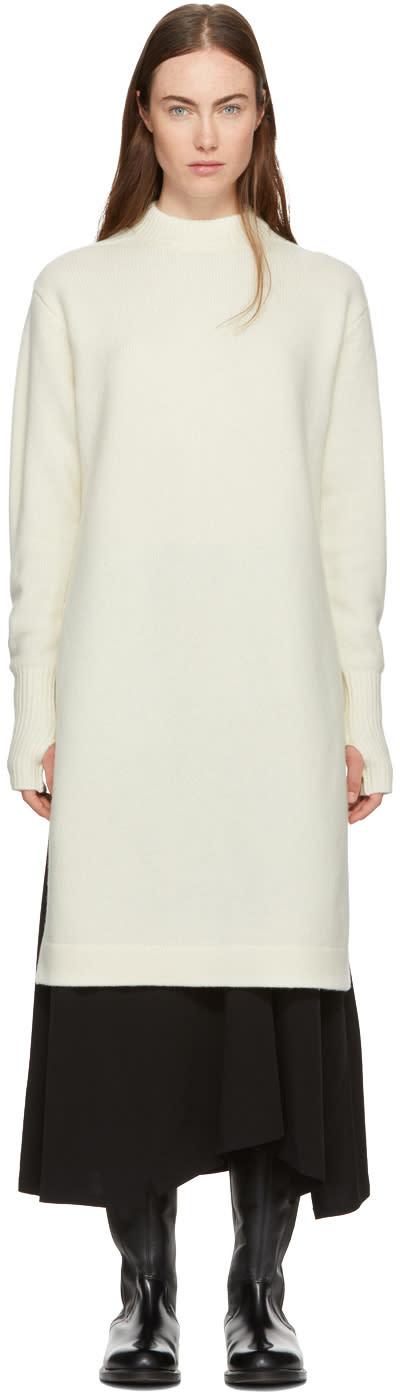 Image of Hyke Off-white Crewneck Sweater Dress