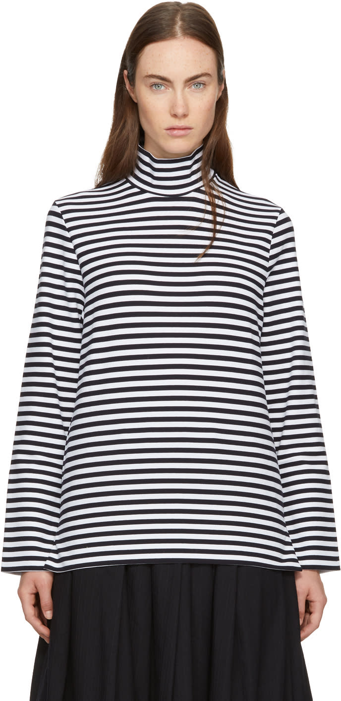 Image of Hyke Navy and White Striped Turtleneck