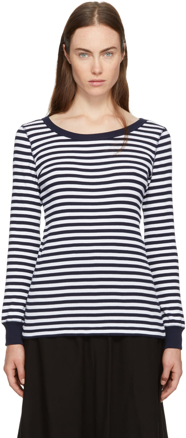 Image of Hyke Navy and White Striped Border T-shirt