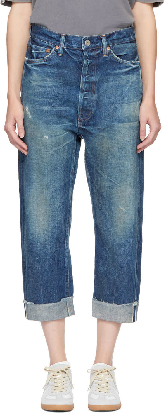 Image of Chimala Indigo Selvedge Wide Tapered Cut Jeans