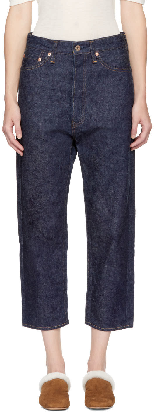 Image of Chimala Blue Selvedge Wide Tapered Cut Jeans