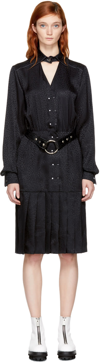 Alyx Black Pleated Button-up Dress