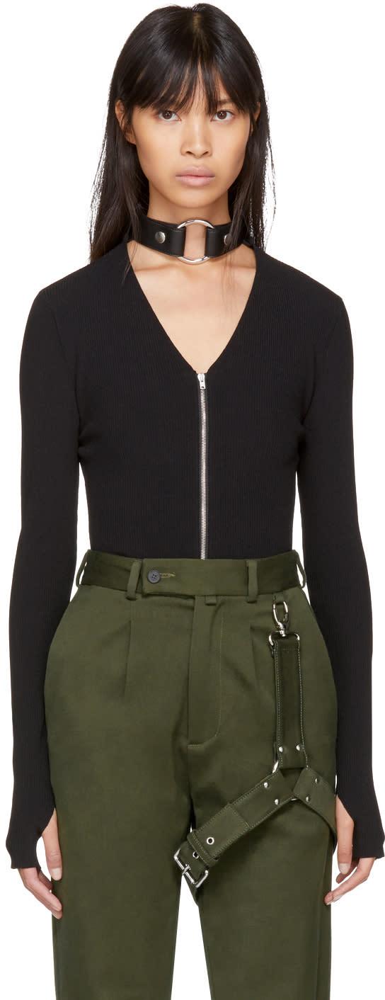 Image of Alyx Black Bondage Choker Zip Bodysuit