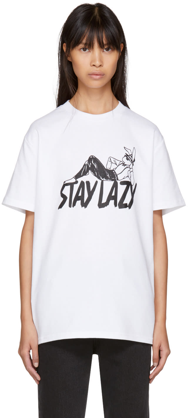 Image of Alyx White stay Lazy T-shirt
