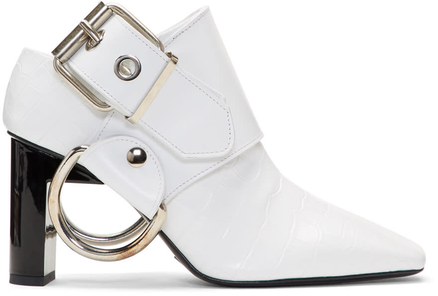 Image of Alyx White Croc Sling Heels