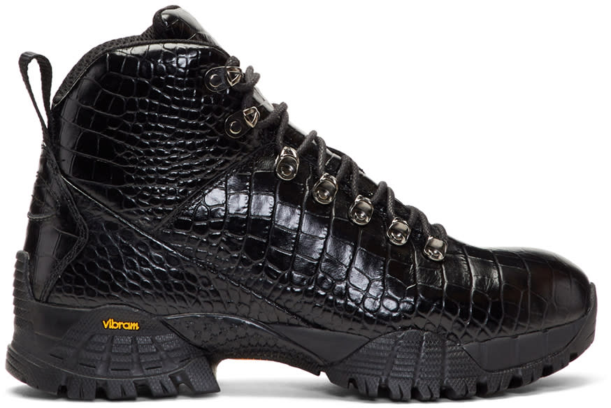 Image of Alyx Black Croc Hiking Boots