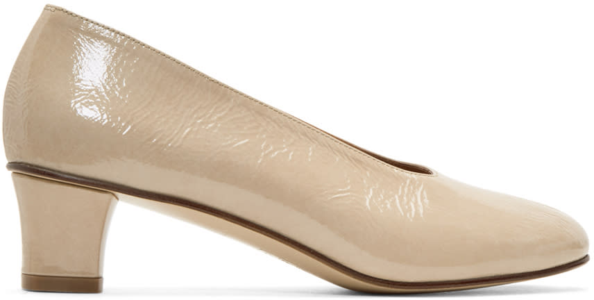 Image of Martiniano Beige Patent High Glove Heels