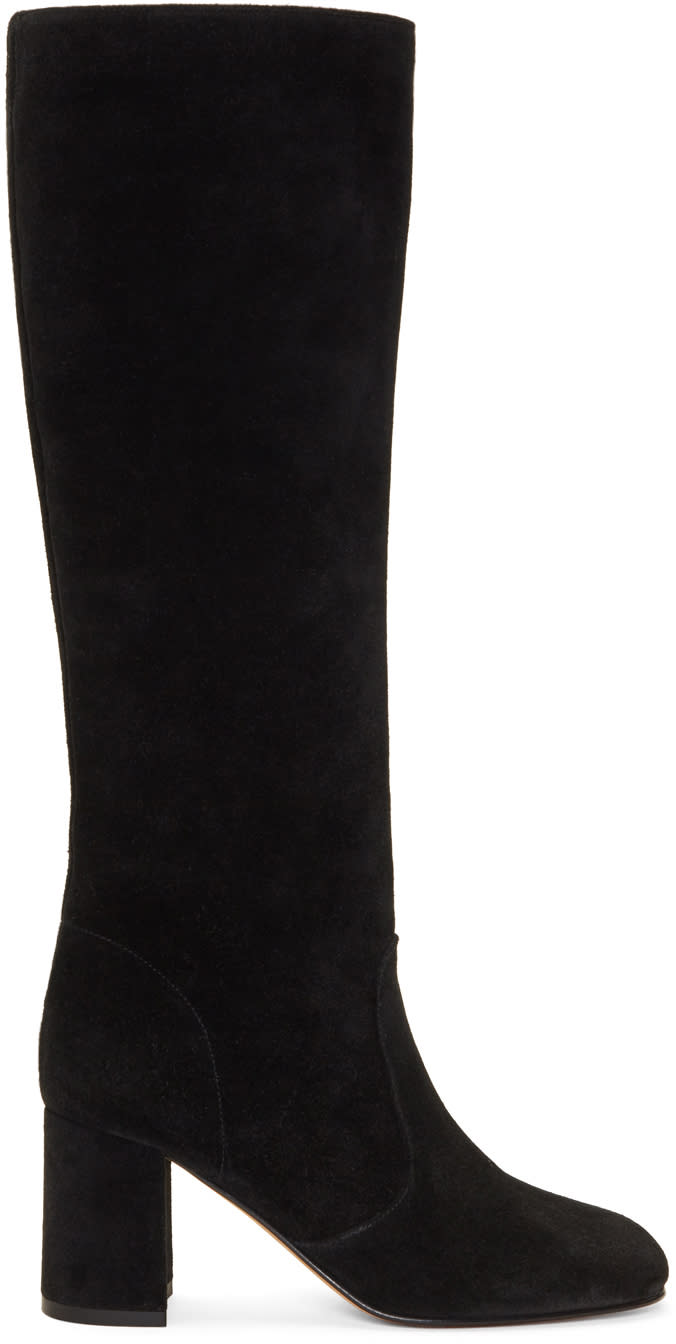 Image of Maryam Nassir Zadeh Black Suede Lune Tall Boots