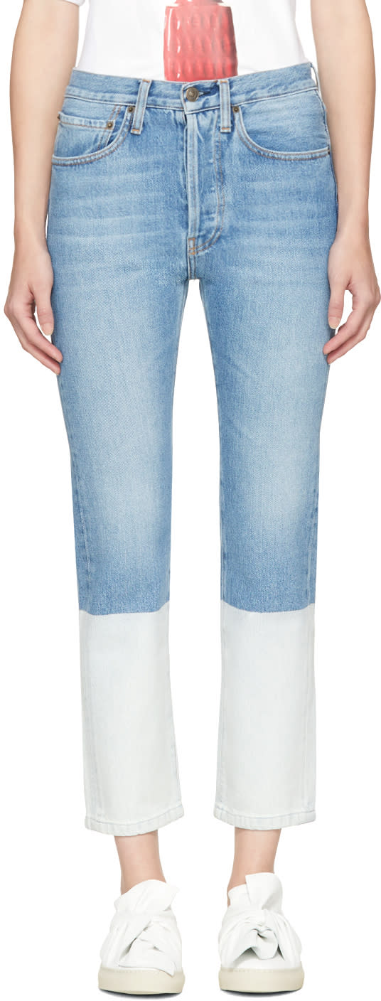 Image of Ports 1961 Blue Colorblock Jeans