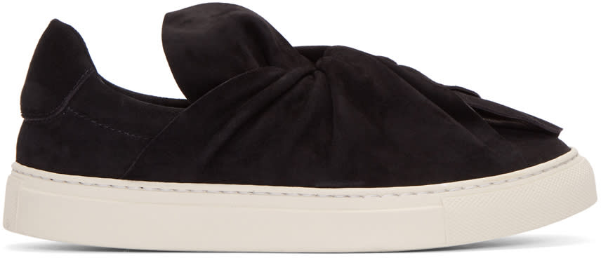 Image of Ports 1961 Black Suede Bow Slip-on Sneakers