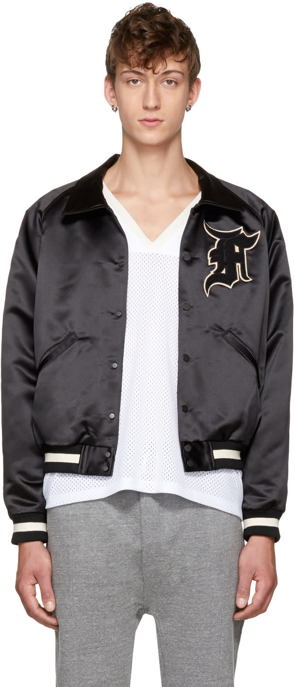 Image of Fear Of God Black manuel Baseball Coaches Jacket