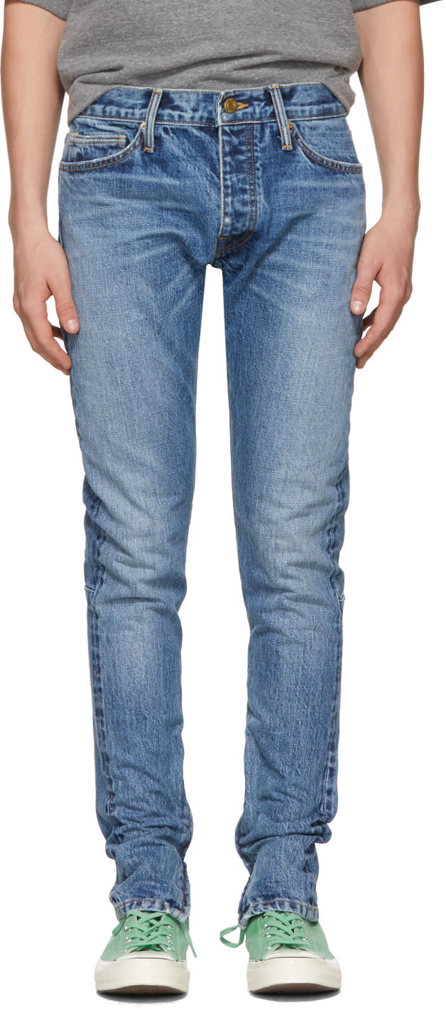 Image of Fear Of God Blue Selvedge Zip Jeans