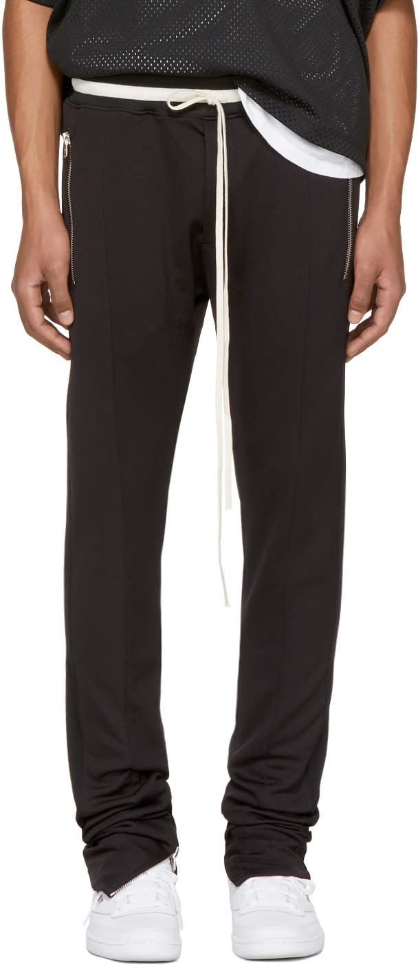 Image of Fear Of God Black Drawstring Track Pants
