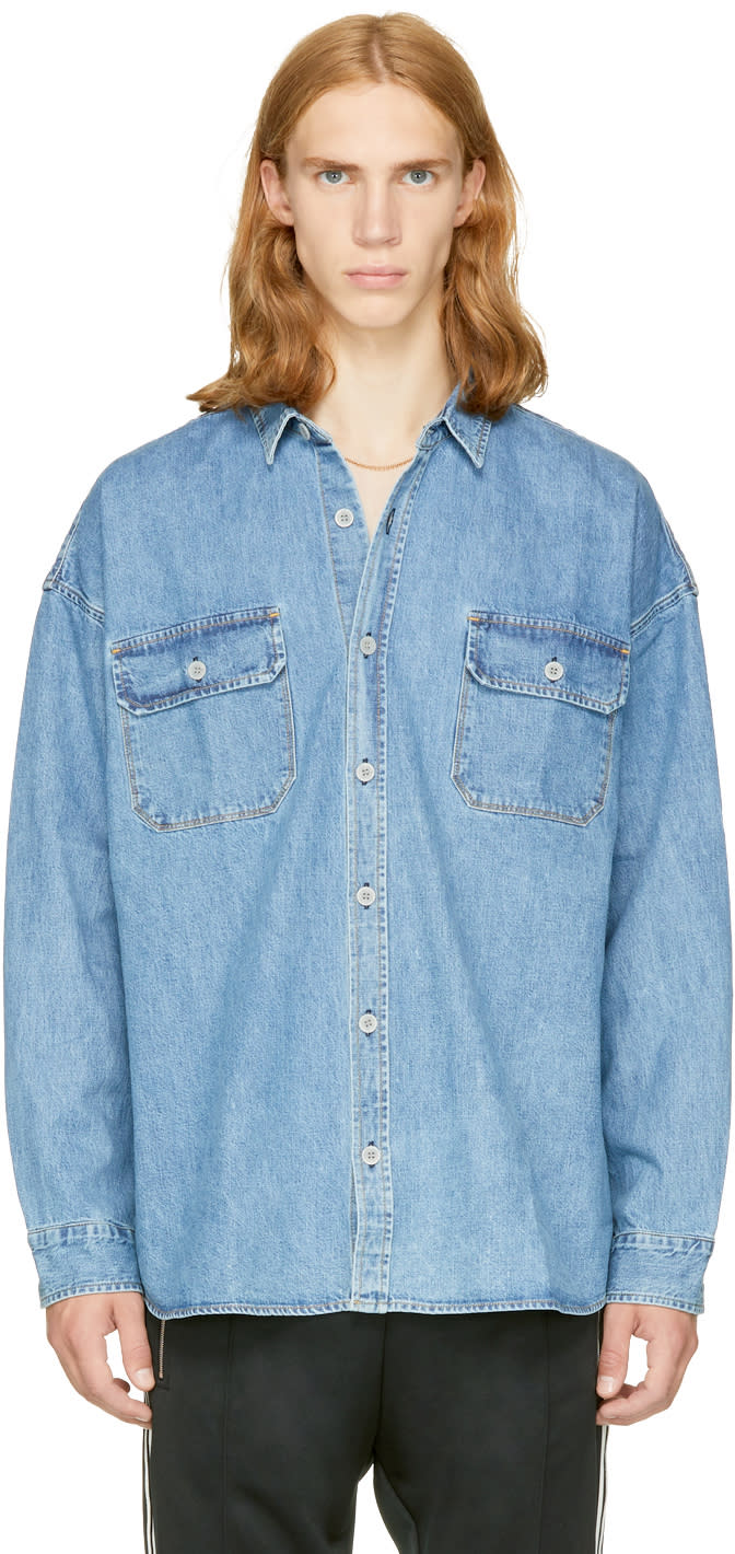 Fear Of God Chemise Surdimensionnée En Denim Indigo