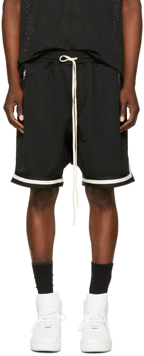 Image of Fear Of God Black Dropped Mesh Lounge Shorts