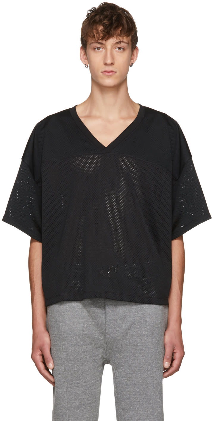 Image of Fear Of God Black manuel Football Jersey T-shirt