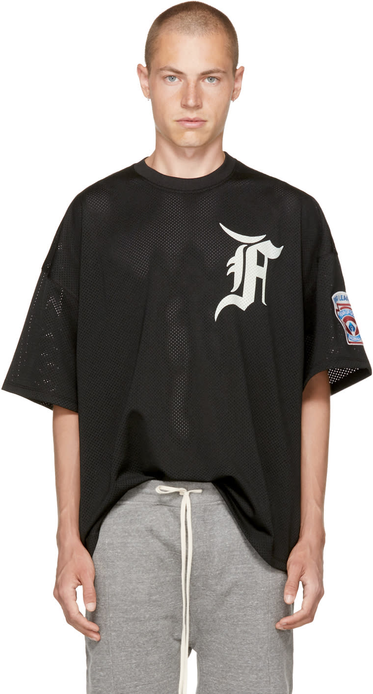 Image of Fear Of God Black Mesh Batting Practice T-shirt