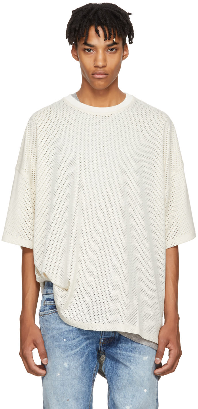 Image of Fear Of God Beige Mesh Oversized T-shirt
