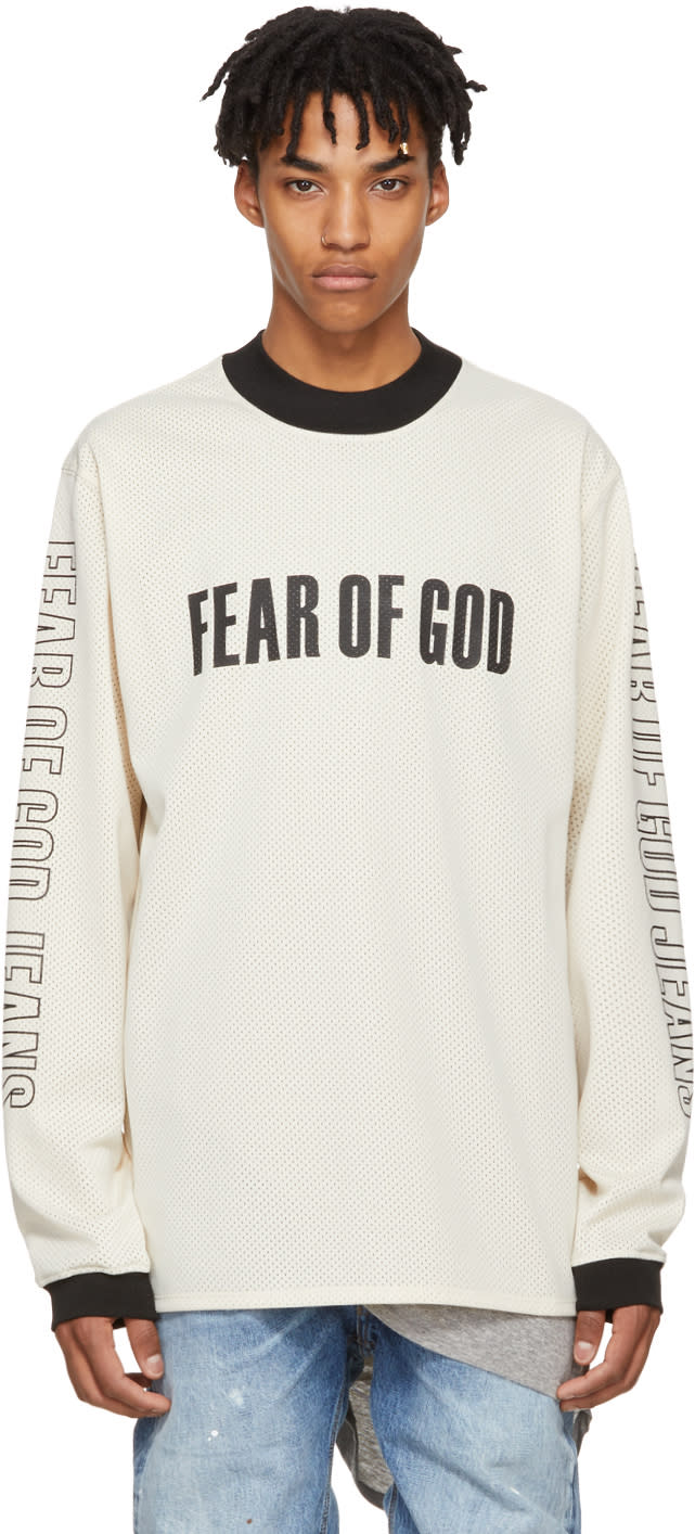 Image of Fear Of God Beige Long Sleeve Mesh Motorcross T-shirt