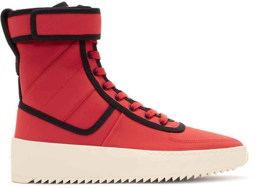 Fear Of God Red and Black Military High-top Sneakers