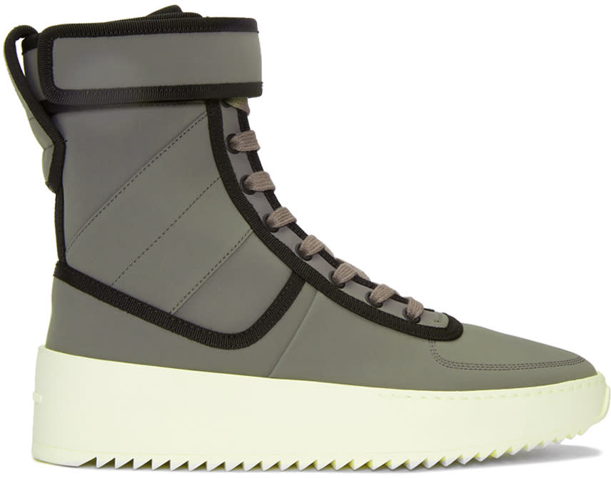 Fear Of God Grey and Black Military High-top Sneakers