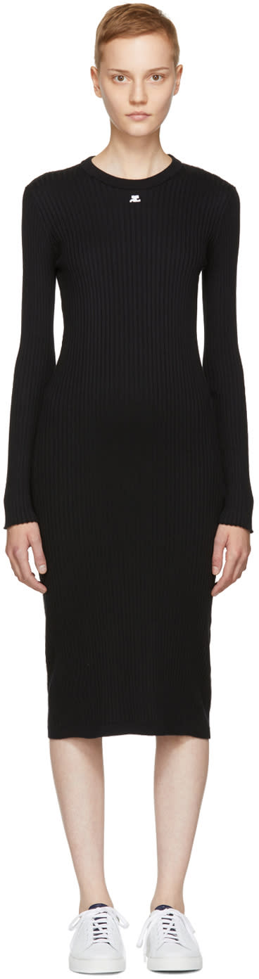 Image of Courrèges Black Button Sleeve Rib Dress
