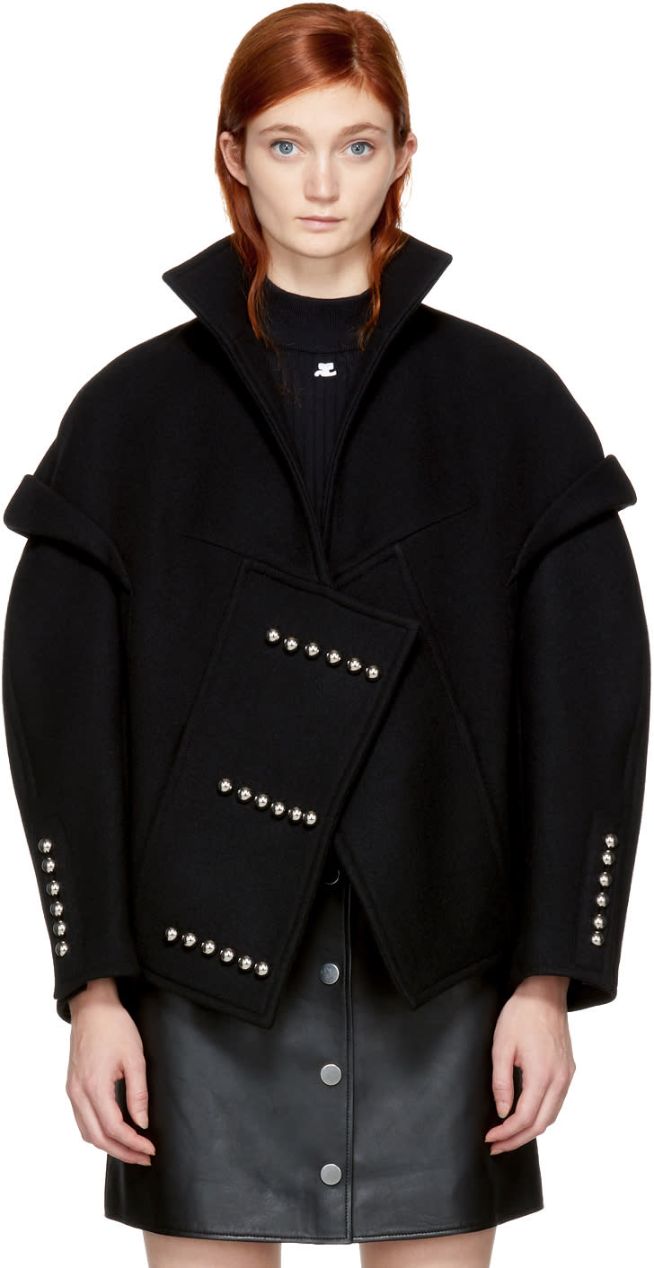 Image of Courrèges Black Wool Button Detail Jacket